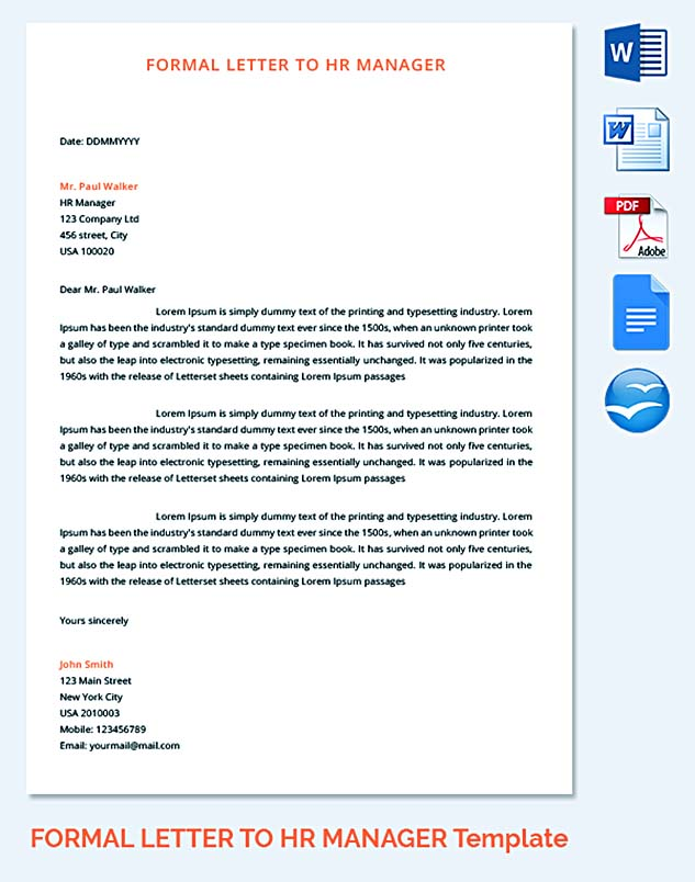 Formal Letter to HR Manager