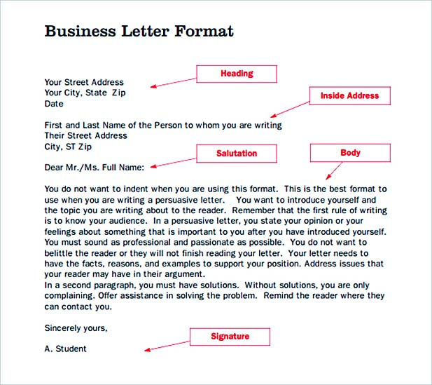 Format of Business Letter Template PDF Download