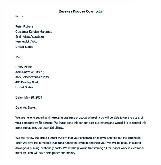 Free Download Business Proposal Cover Letter Template