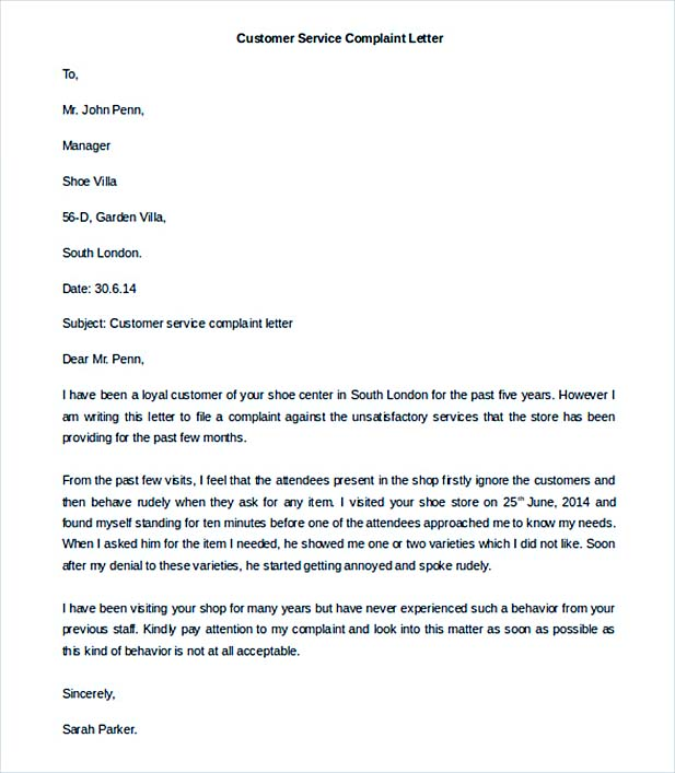 Complaint letter template for Customer service message template