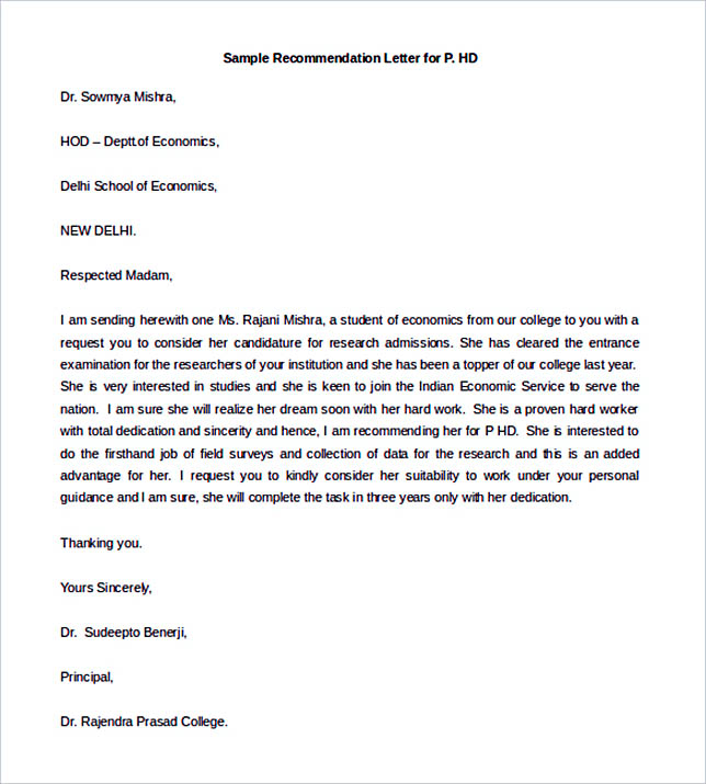 Free Sample Recommendation Letter for P.HD Download