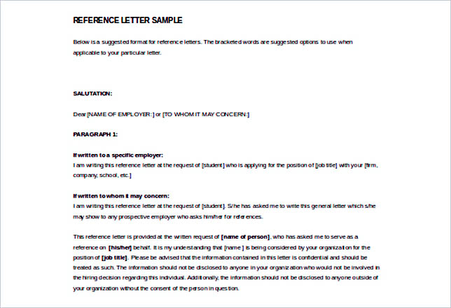 free sample reference letter template download