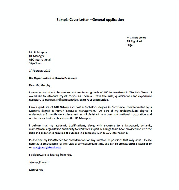 General Application Cover Letter Template Free