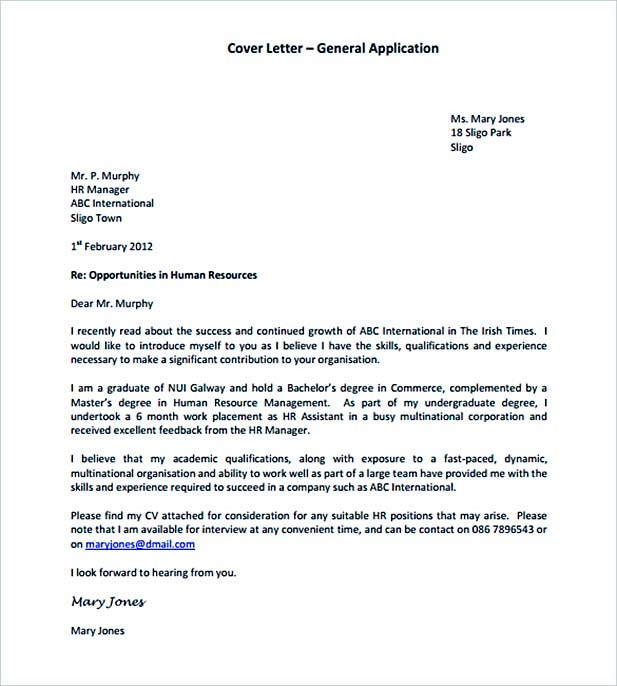 General Application Cover Letter Template PDF Format