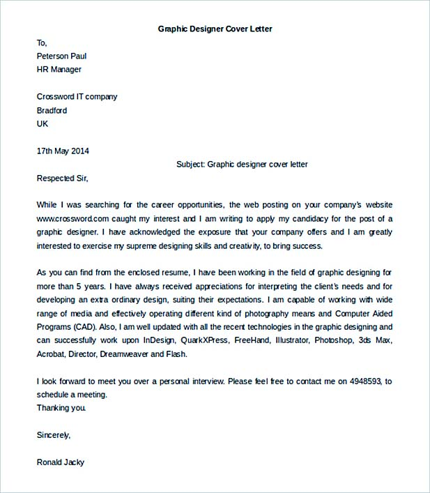 Graphic Designer Cover Letter Template Download Free