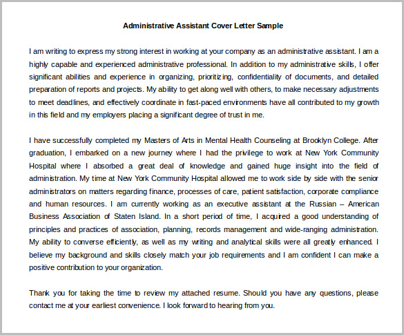 Health Adistrative Assistant Cover Letter Template Word Doc