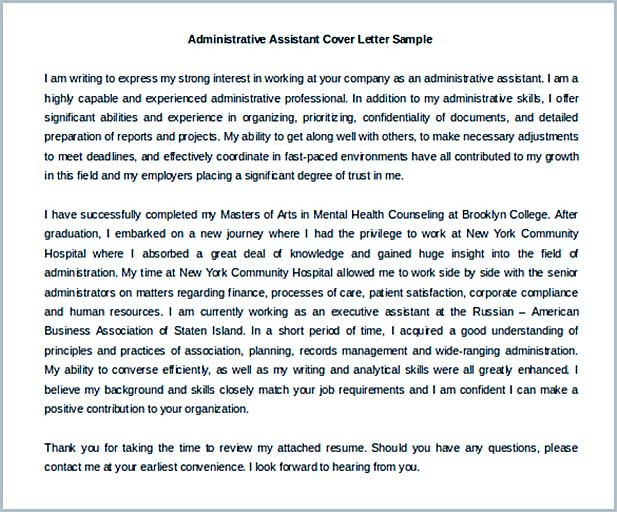 Administrative Assistant Cover Letter No Experience Template