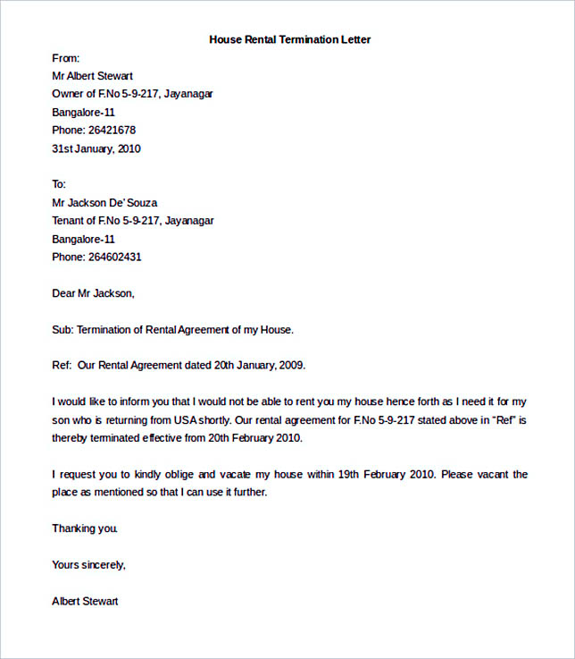House Rental Termination Letter Template Free Download