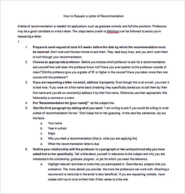 How to ask for a Letter of Recommendation Word Free Download