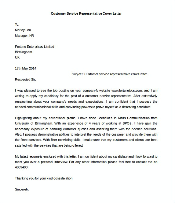 Ideal Customer Service Representative Cover Letter Template