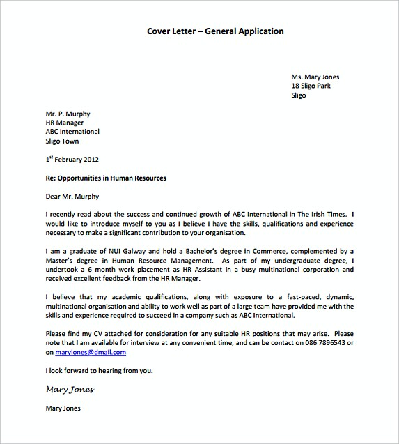 Ideal General Application Cover Letter Template Format
