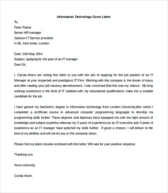 Ideal Information Technology Cover Letter Template Free Word Doc