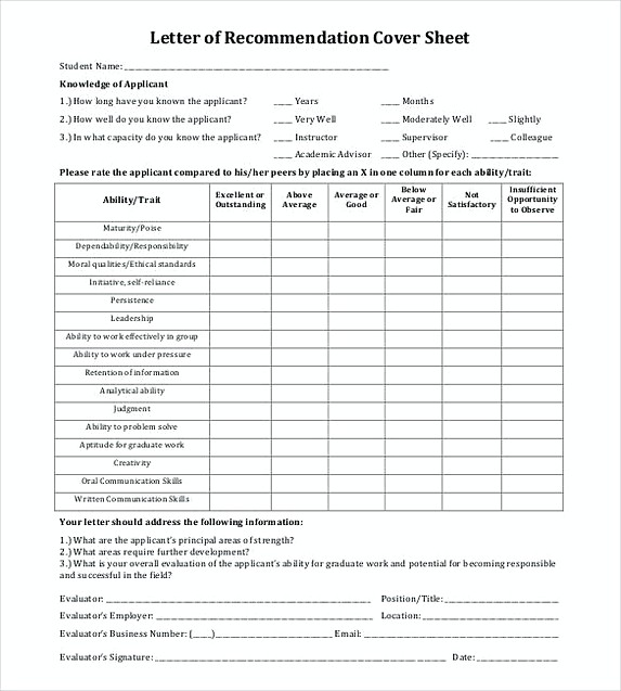 Ideal Letter of Recommendation Cover Sheet