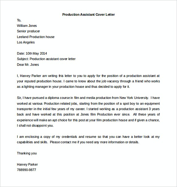Ideal Production Assistant Cover Letter Template Free
