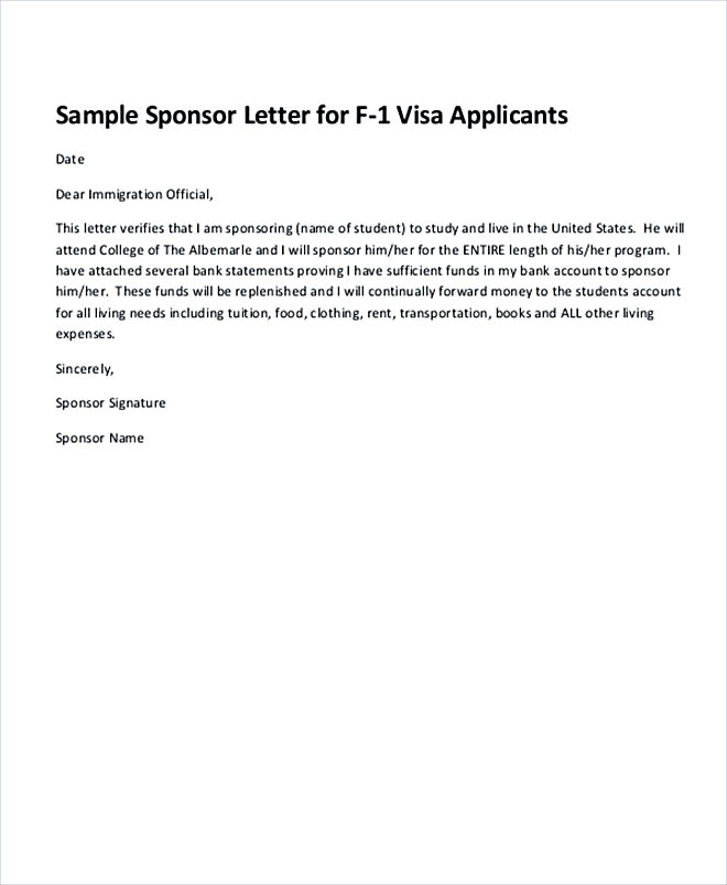 Immigration Sponsorship Letter Example