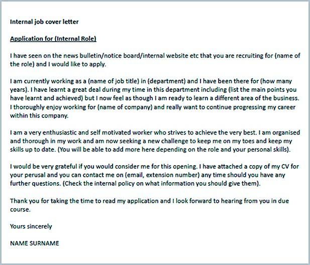 Internal Job Cover Letter Example Download