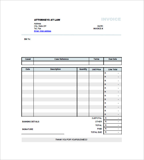 Invoice for Legal Services TemplateInvoice for Legal Services Template