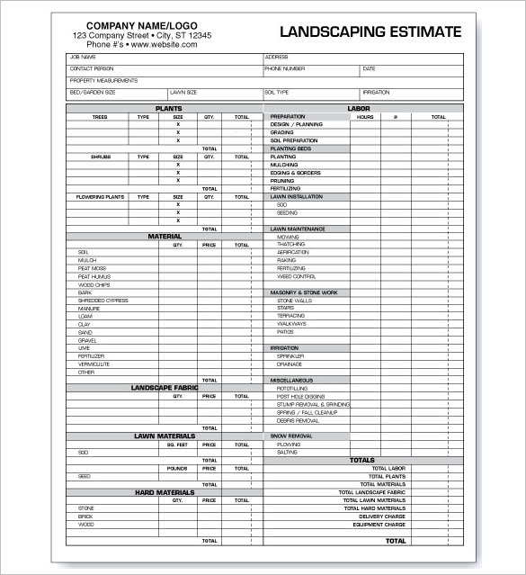 Landscaping Estimate Template Download