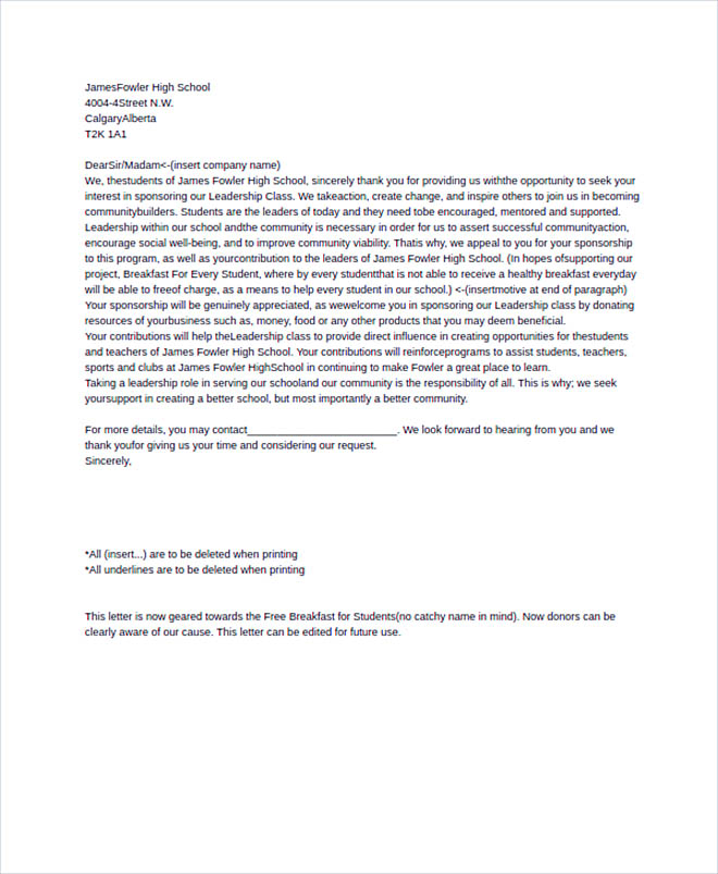 LeaderShip Sponsorship Letter In PSD