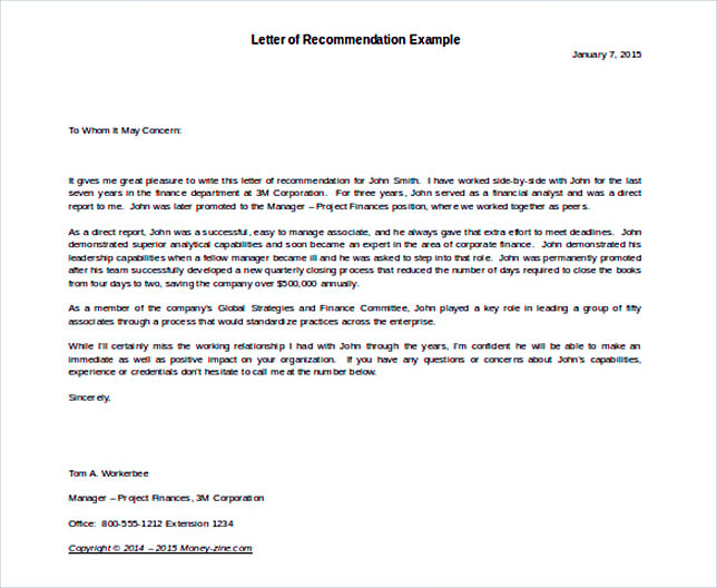 Letter Of Recommendation Example Template