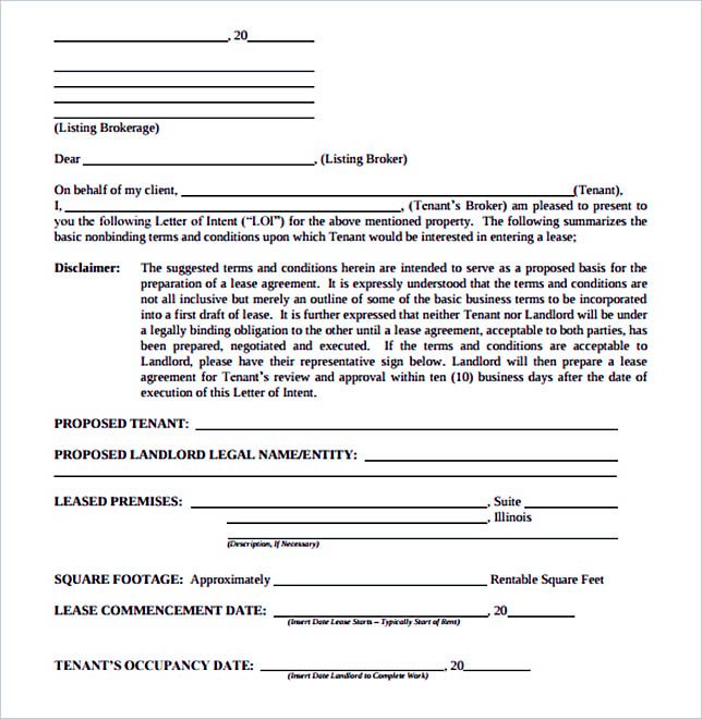 Letter of Intent Form Real Estate Rental Commercial PDF Sample