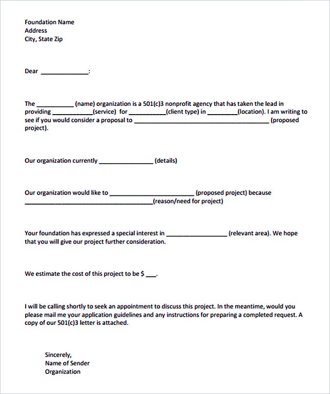 15 letter of intent template for both parties for Application for funding letter template