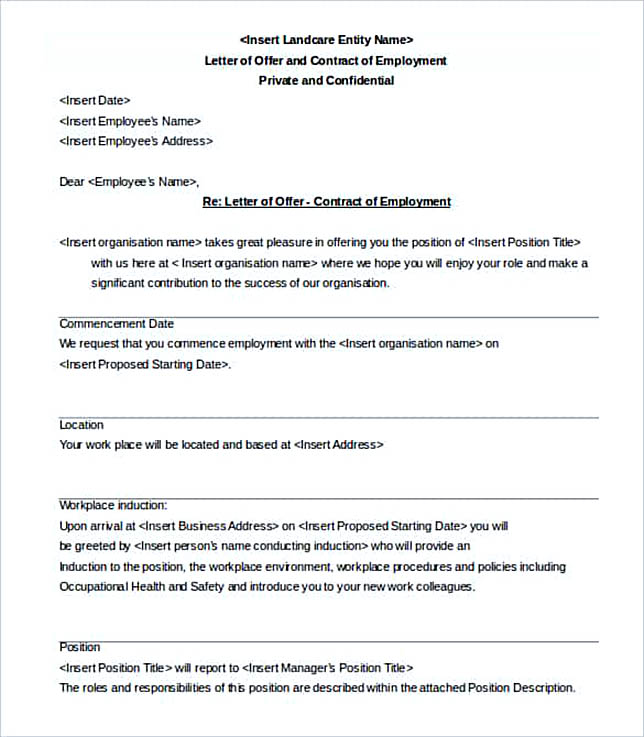 Letter of Offer and Contract of Employment Template min