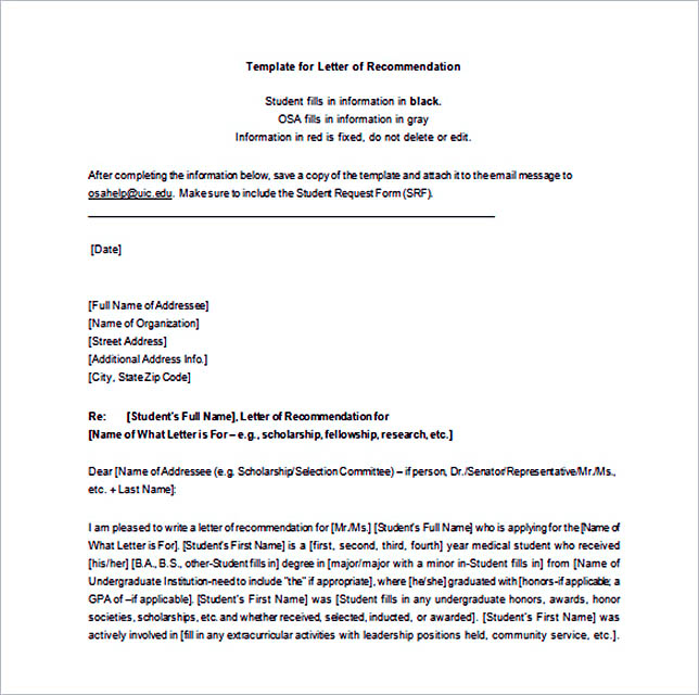 Letter of Recommendation Template Word Free Download