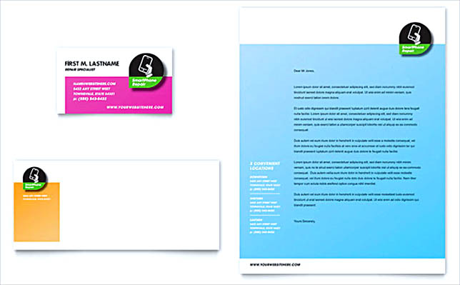 MA Word Smartphone Repair Business Card Letterhead Template