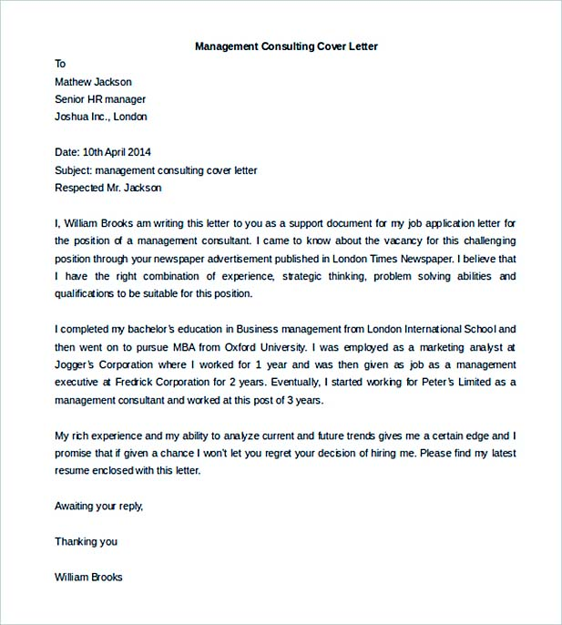 Management Consulting Cover Letter Template Free Download  Management Consulting Cover Letter