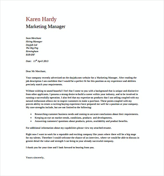 Marketing Manager General Cover Letter Free