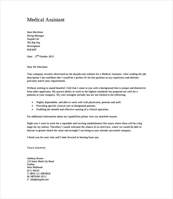 Medical Assistant Cover Letter Free PDF Template Download