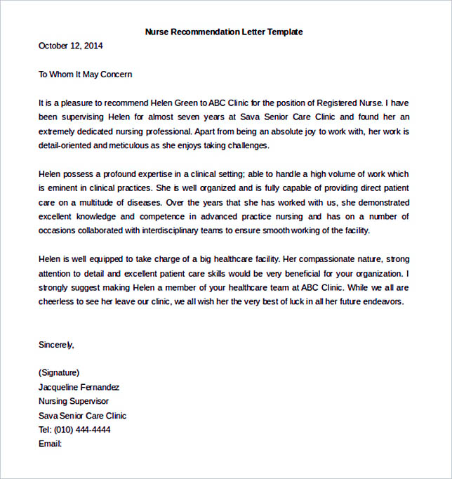 Nursing Letter Of Recommendation Template Example Download  Letters Of Recommendation Templates