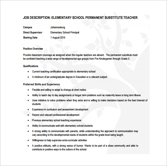 Permanaet Substitute Teacher Job Description for Elementary School Free