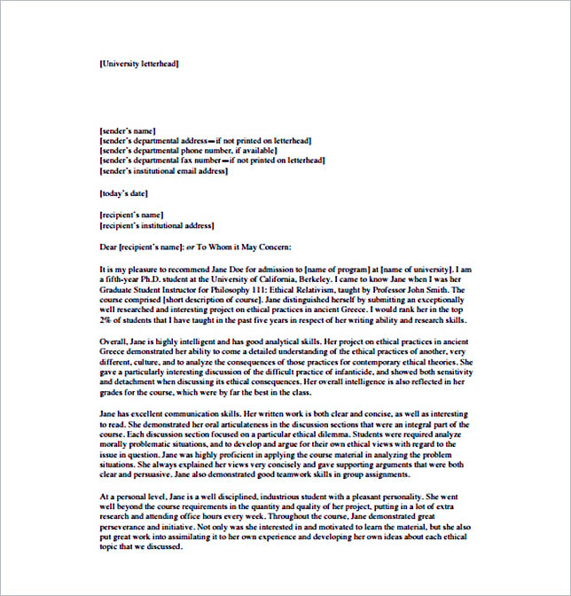 15  letter of recommendation format  basic template to