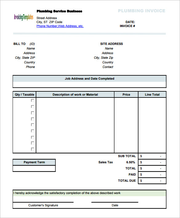 Plumbing Service Invoice Template With Sales Tax  Plumbing Receipt Template
