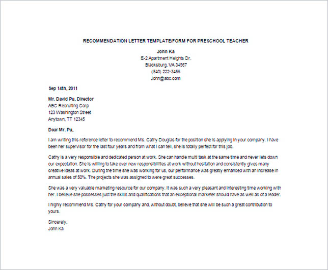 Preschool Teacher Recommendation Letter Template