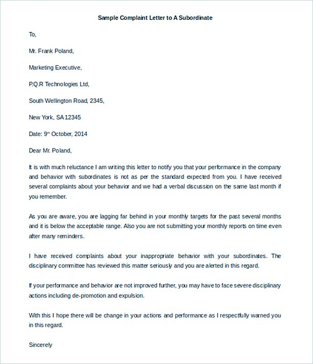 Printable Complaint Letter to A Subordinate Download