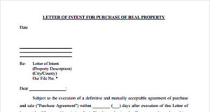 Printable Letter of Intent for Purchase of Real Property PDF
