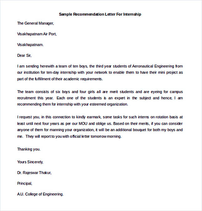 Printable Sample Recommendation Letter For Internship  Example Of Recommendation Letter