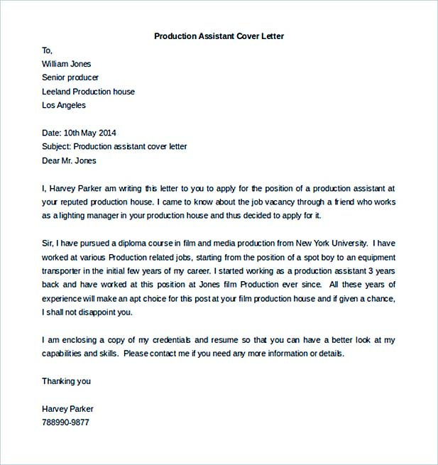 Production Assistant Cover Letter Template Free Download