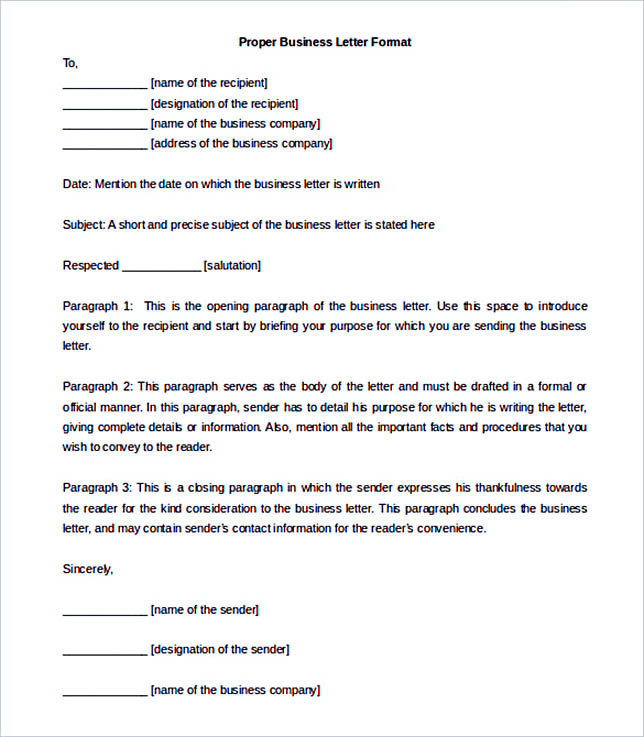 Proper Business Letter Format Template Download