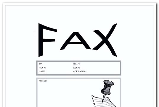 Pushpin Fax Cover Letter Word Template Free Download