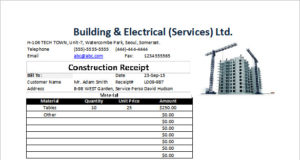 Receipt for Construction in Excel Format