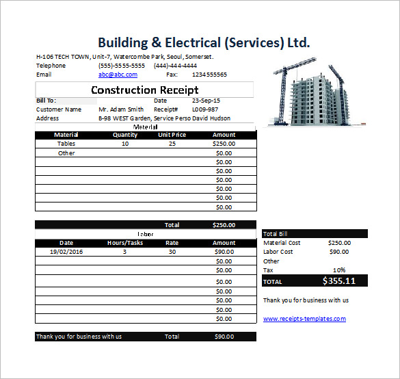 construction invoice templates for professional services