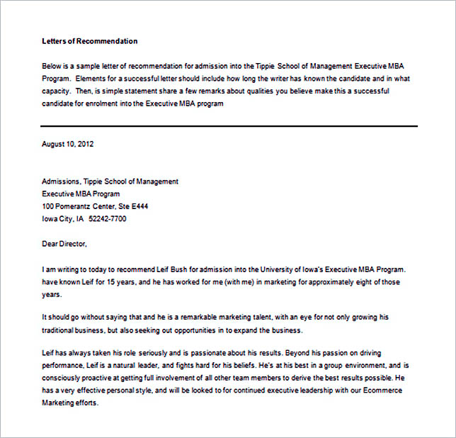 Recommendation Letter Example Word Free Download