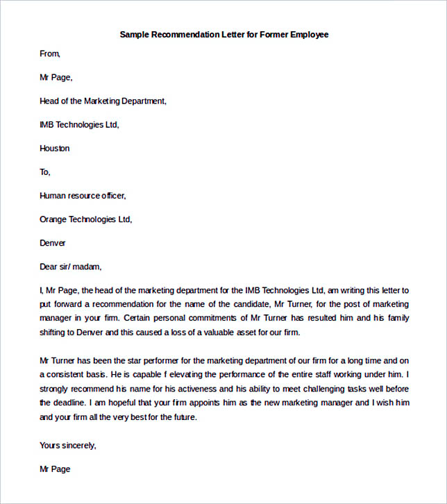 Recommendation Letter for Former Employee Template Example
