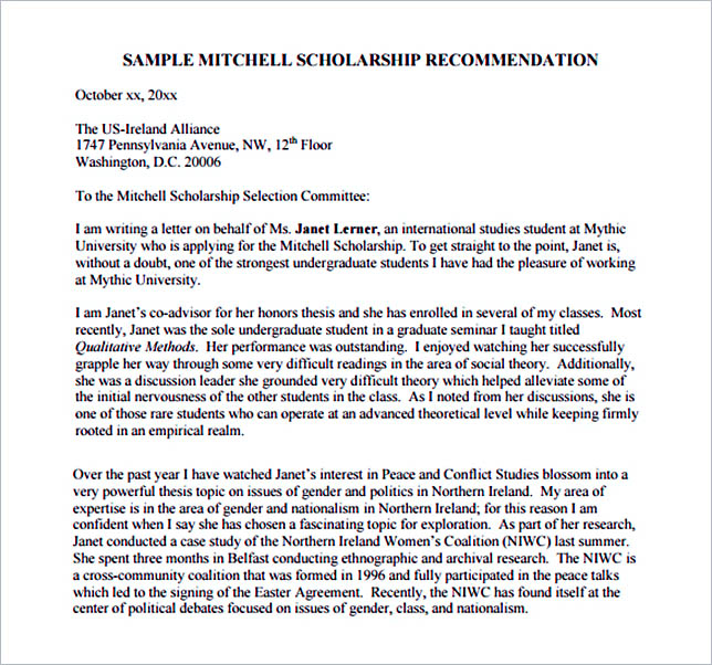 Recommendation Letter for Scholarship PDF Free Download