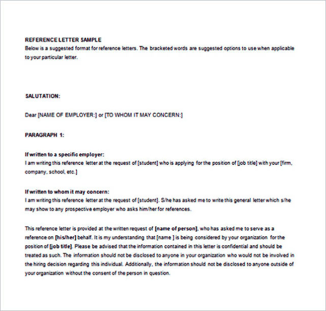 Recommendation Letter from an Employer Word Free Download