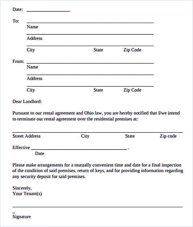 Rental Agreement Termination Letter Template PDF Download